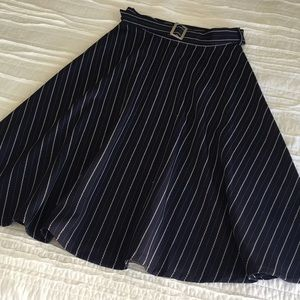 Bysi Midi Pinstriped Navy and White Belted Skirt